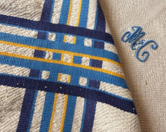 Antique French monogrammed MC table napkins w tablecloth blue yellow striped hemp table cloth w blue monograms vintage French table linens