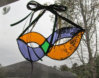 Stained Glass Mardi Gras Mask in Gold/Green/Purple with Coordinating Ribbon Hanger - Unusual Gift Item - Fat Tuesday - Carnival Number 20