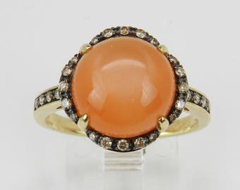 Diamond and Peach Cats Eye Ring Halo Promise Ring Yellow Gold Size 7.25 Free Sizing