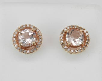 Morganite and Diamond Halo Stud Earrings Studs Rose Gold Wedding Studs