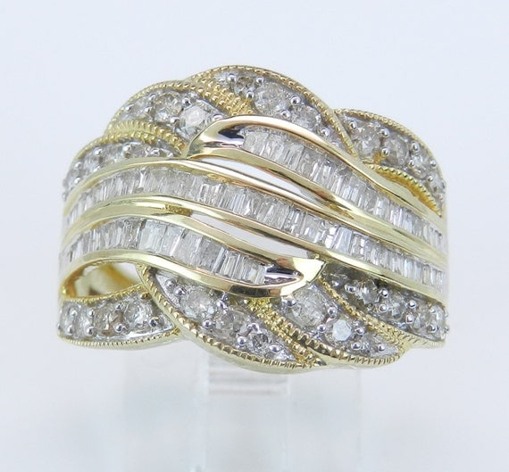 Diamond Wedding Ring Anniversary Band Large Cluster Cocktail Yellow Gold Size 7