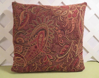 Paisley Pillow Cover in Brown Rust Peach Chenille / Brown Pillow / Accent Pillow / Decorative Pillow / 18 x 18 Pillow