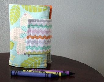 Kids Crayon Wallet - Birds & Flowers - Teal - Orange - Gift Under 20 - With Crayons and Paper - Stocking Stuffer - Travel Gift