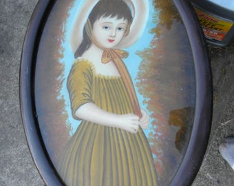 antique 1800s victorian beautiful young WOMAN REVERSE PAINTING on glass
