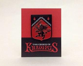 Rampant Krampus heraldic shield enamel pin: Order Of Krampus