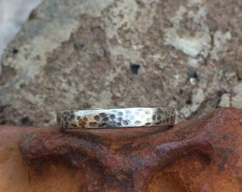 Skinny / Thin Wedding Band or Stacking Ring - Rustic Oxidized - Recycled 925 Sterling Silver Peen Hammered Texture - Custom in Any Size