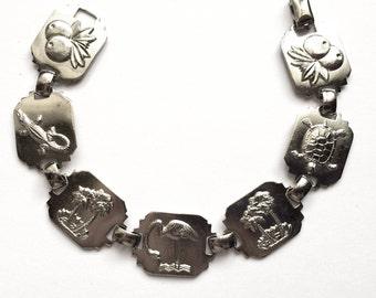 Brass Tropic Bracelets, Flamingos, Palm Tree,, Vintage Jewelry Supplies, Jewelry Making, Imitation Rhodium,  7 Inches,  B'sue, Item0872