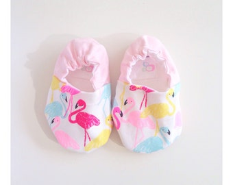 Baby Girl Booties, Girls Baby shoes in bright Flamingo print.