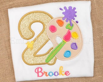 Paint Party Appliqued Birthday Shirt