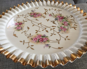 Absolutely Beautiful Vintage Floral Cake Stand Pedestal Trimmed in Gold