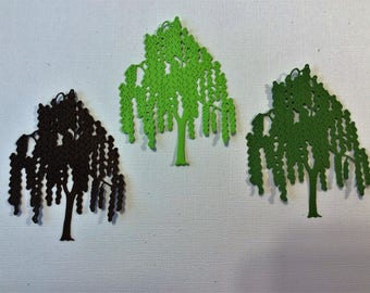 "3 Willow Trees, Greens, Brown, Handmade, Sizzix, 3 1/2"" long, 2 1/2"" wide, Cards, Scrapbooking"