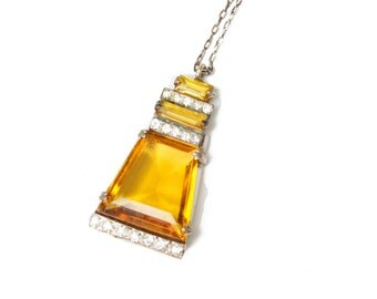1920's Pendant // Art Deco Paste Rhinestone Amber Glass Necklace
