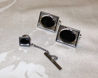 Handsome, Vintage Swank, Black Glass Cufflink and Tie Tack Set