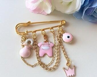 Neshuma Evil Eye Stroller Pin Brooch Newborn Baby Shower Gift