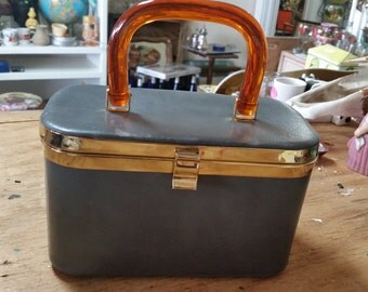 J R Florida Gray Box Purse Amber Colored  Lucite Handle