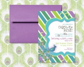 RESERVED The Striped Peacock Invitation