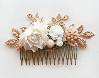 Hair Comb, Rose Gold, Wedding, Bridal Headpiece, White Flowers, Rhinestone, Pearl, Leaves, Vintage Style, Romantic, Victorian, Modern Bride