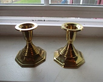 Pair of Small Vintage Brass Candle Holders - Made in India