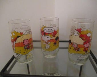 """Set of Three Vintage Camp Snoopy Collection Glasses """"Civilization Is Overrated"""" Glasses - McDonalds"""