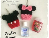 CROCHET PATTERN to make a Mickey Mouse and Minnie Mouse Hand Sanitizer Holder, for .5 to 1 oz bottles.  Pdf Format, Instant Download.