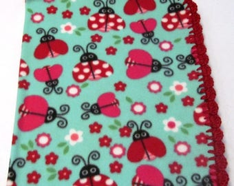 Fleece Lady Bug Blanket with Crocheted Edge, fleece baby blanket, crochet edge blanket, lady bug blanket. READY TO SHIP!