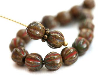 6mm Melon beads, Brown Picasso spacers, Earthy colored czech glass round beads - 25pc - 2936