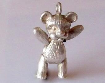 Silver Teddy Bear Articulated Charm or Pendant