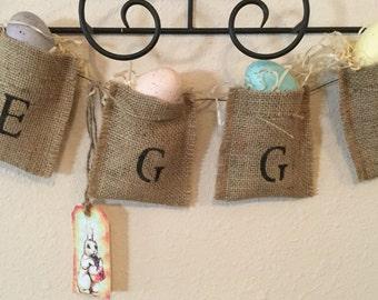 Easter Egg Burlap Banner. Burlap Banner. Housewarming Gift. Holiday Decor. Country Home. Handmade. Home Decor. Ready to Ship