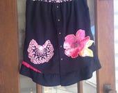 RESERVED.....Black denim, chambray denim rustic Hippie skirt, patchwork, handmade