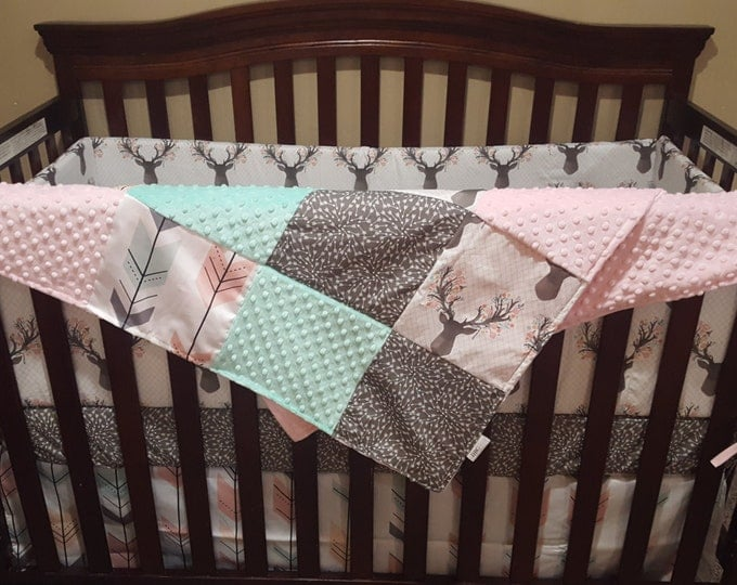 Featured listing image: Baby Girl Crib Bedding - Tulip Fawn, Fletching Arrow, Pebble Random Arrow, and Blush Crib Bedding Ensemble with Patchwork Blanket