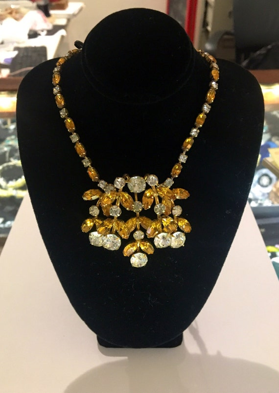 Vintage 1950s Kramer of New York Gold and Clear Rhinestone Necklace!