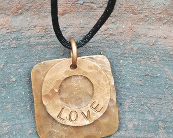 Love pendant, copper pendant, hand stamped, copper jewelry, Custom jewelry, washer pendant