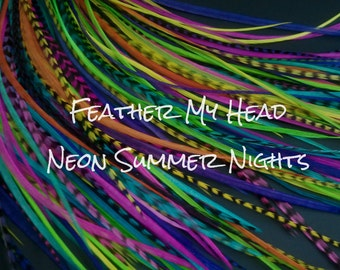 """Feather Hair Extensions - Do It Yourself (DIY) Kit - 16 Pc Thin Feathers -Long 9""""-12"""" (23-30cm) Neon Nights Mix"""