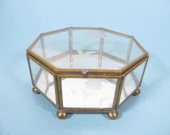 Vintage Octagon Glass Brass Box - Glass Brass Box
