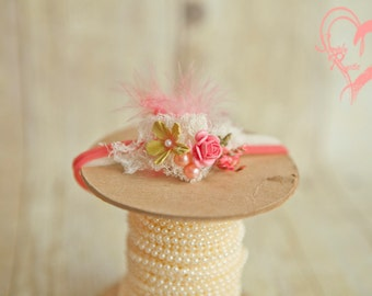 Beautiful Corals Newborn Headband Cute N Beautiful Corals w Lime Greens Feather Gorgeous Chic Baby 1st photo shoots *SHIPS FREE