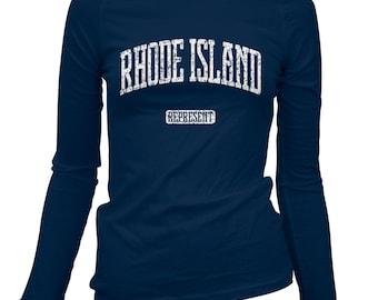 Women's Rhode Island Represent Long Sleeve Tee - S M L XL 2x - Ladies' T-shirt, Gift For Her, Rhode Island Shirt, Providence Shirt, Warwick