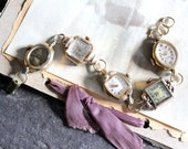 Watch of Vintage Watches steampunk, face vintage antique recycled up cycled bracelet jewelry assemblage ladies working gold tones