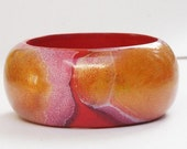 CHRISTMAS SALE CHUNKY Pink Bangle - Hand painted vintage chunky pink bangle - chunky pink bangle made from wood and painted - abstract style