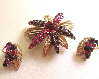 Purple and Fuscia Rhinestone Pin Brooch and Clip Earrings Set Mad Men Vintage Costume Jewelry Mid Century Amethyst