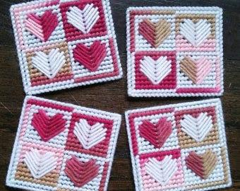Set of 4 Plastic Canvas Quilted Heart Coasters- Pink, Tan & White