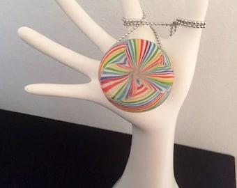 glass rainbow lines xl hollow pendant • blown glass boro pendy