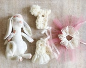Bunny Doll Play Set Peach Blossom Heirloom Handmade Toy