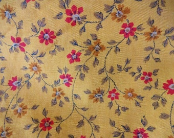 Vintage Calico Floral Cotton Print Fabric 5+Yards