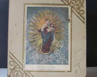Unique Early 1900s Mary and Jesus Framed Print in Easel Glass Frame!