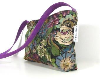 """sac bandoulière femme """"Anja"""" tissu ameublement et cuir mauve"""