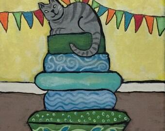 Original art cat painting - gray cat - cat on cushions  -  kitty folk art whimsical cat lover