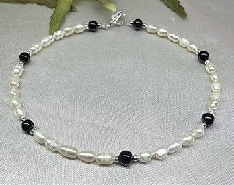 Black Onyx Ankle Bracelet White Pearl Anklet Black Onyx Anklet White Pearl Ankle Bracelet 925 Sterling Silver Ankle Bracelet BuyAny3+1 Free