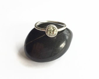 Raw Pyrite Ring, Minimalist Ring, Simple Pyrite Ring, Fools Gold, Semi Precious Raw Gemstone Ring, Gift For Bridesmaid