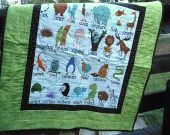 Boy's Alphabet Quilt, Alphabet Baby Quilt, Alphabet Quilt, Green Black White Quilt