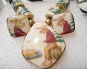 Whimsical Camping Moose Ceramic Necklace and Clip Earring Set